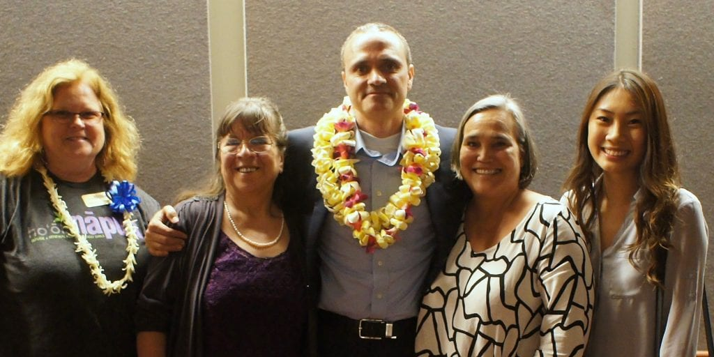 "Ho'ola Na Pua members pose with ""The Abolitionists"" Producer Chet Thomas."